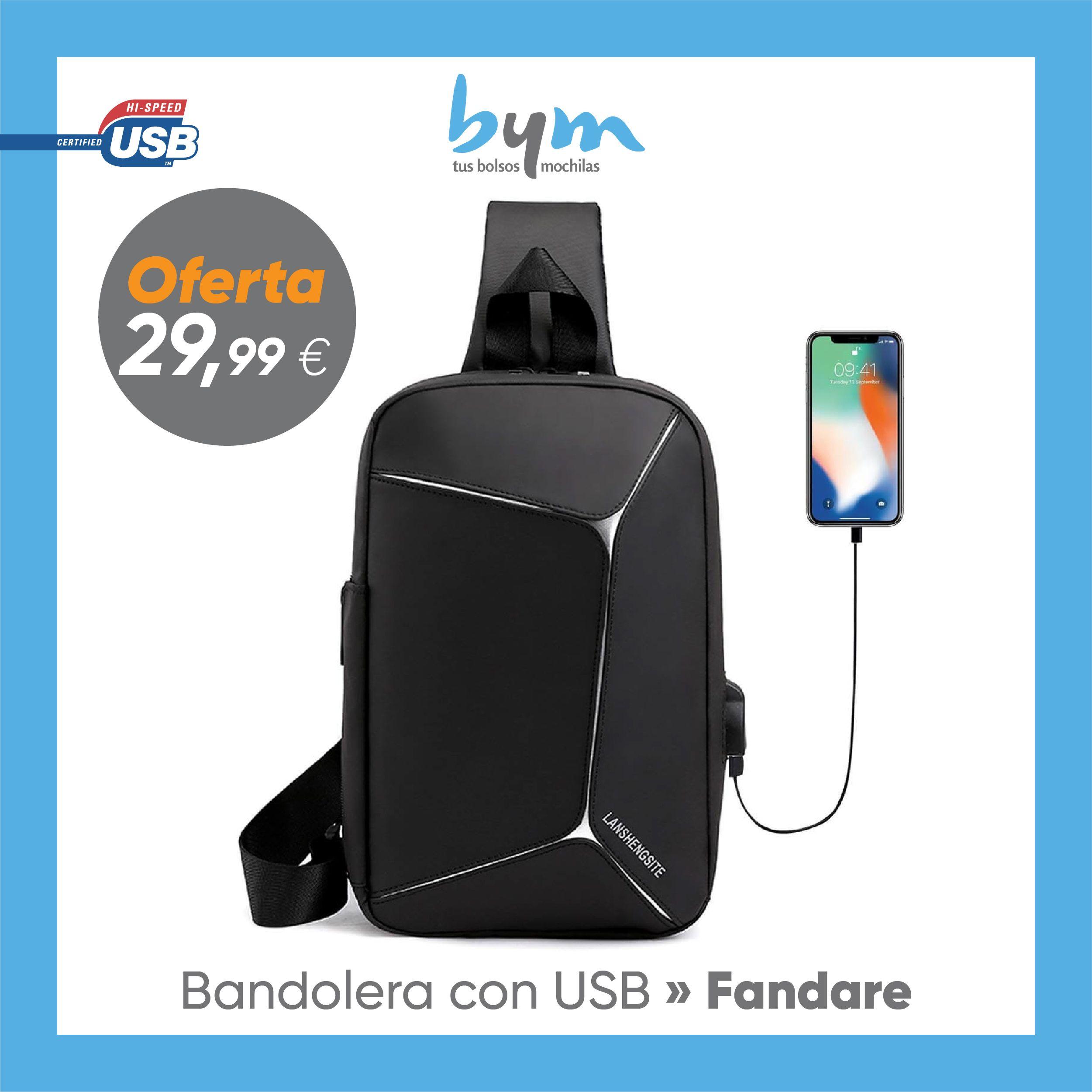 Bandolera con Carga USB   Bolso de Hombro FANDARE (con