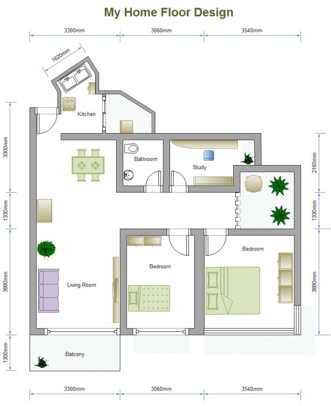 2 Bed Floor Plan | ➔ drawing TECHNICAL | Pinterest