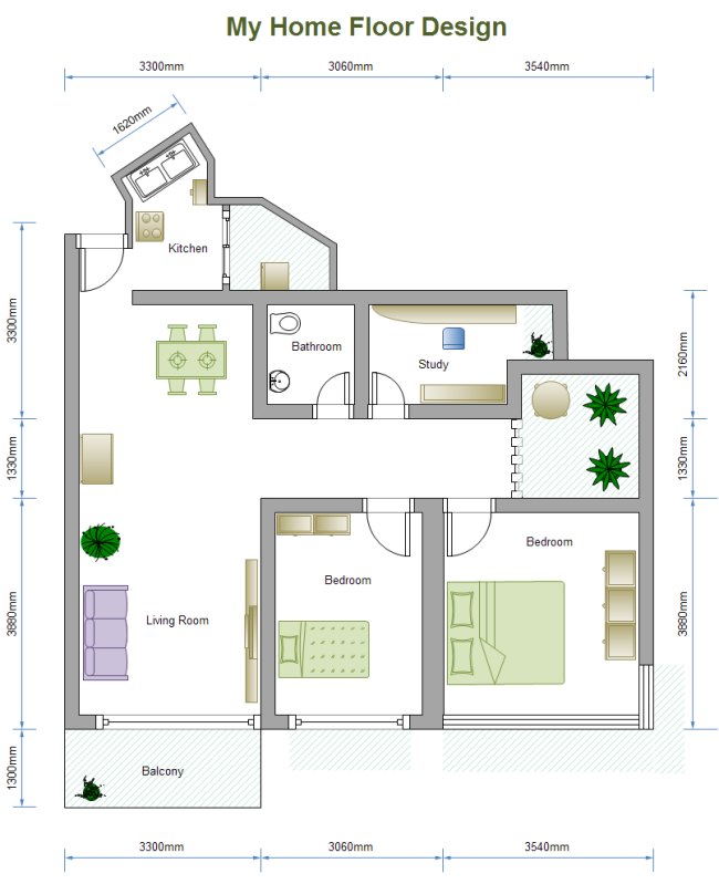 A Free Customizable 2 Bed Floor Plan Template Is Provided
