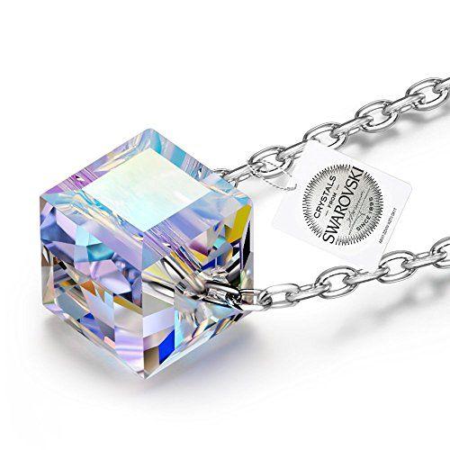 NINASUN Schones Leben 925 Silber Damen Geschenk Kette Silberkette Anhanger  Muttertag Aurore Boreale Swarovski Kristal Schmuck 2c476258c2