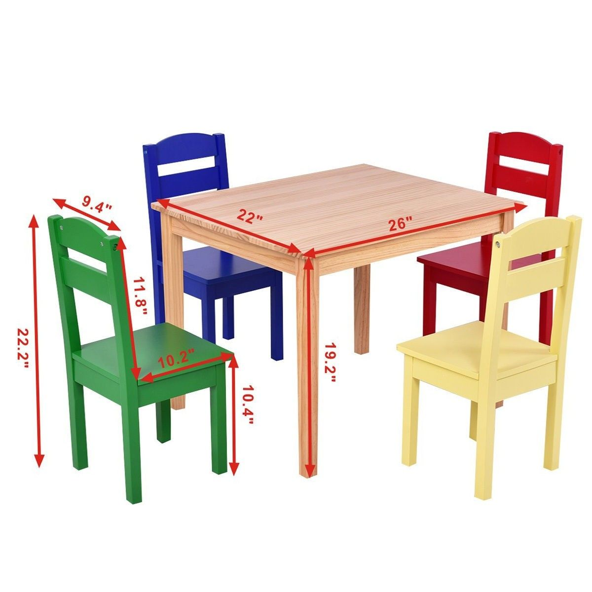5 Pcs Kids Pine Wood Table Chair Set Kids Wooden Table Pine Chairs Wooden Table And Chairs