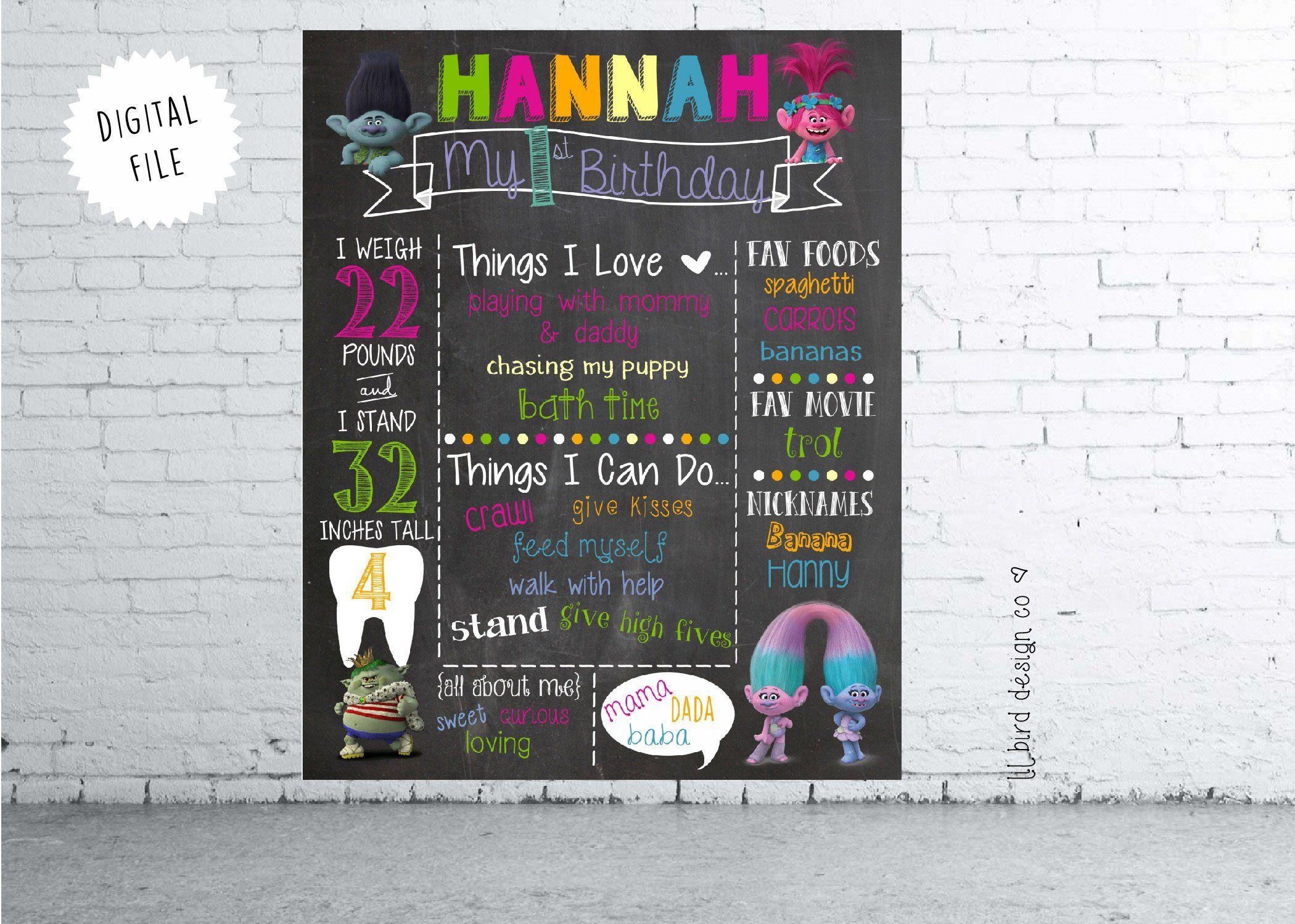 Trolls Girl Birthday Birthday Poster Trolls Birthday Chalkboard Poster Princess Poppy Boy Birthday Milestone Birthday
