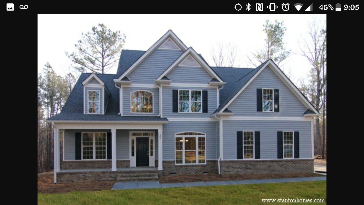 Light Blue Siding White Trim Black Shutters Gray Brick Possible House Colors