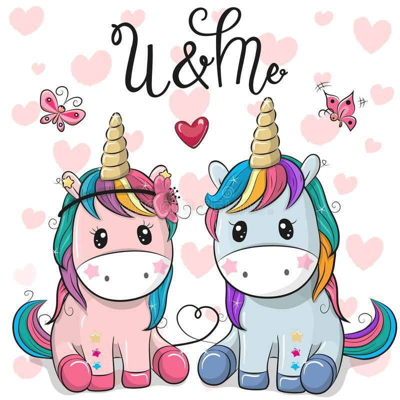 Two Cute Unicorns on a hearts background. Two Cute Cartoon Unicorns on a hearts background royalty free illustration