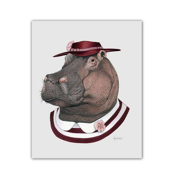 Hippo art print – Animal art – Nursery art – Nursery decor – Animals in Clothes – Children's art – Ryan Berkley Illustration 11×14