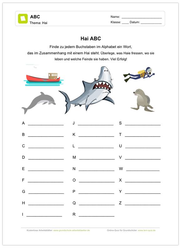 Ein kostenloses Arbeitsblatt zum Thema Haie, auf dem die Schüler zu ...