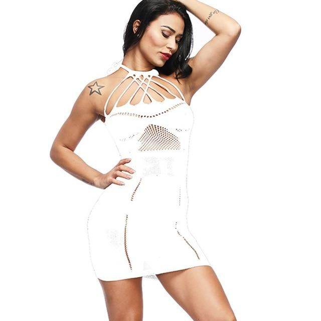 bbb677d9f summer dress 2018 Women s Sexy Mesh Lingerie Fishnet BabyDoll Free Size  Dobby Bodysuit Mini Dress sexy sleepwear dress