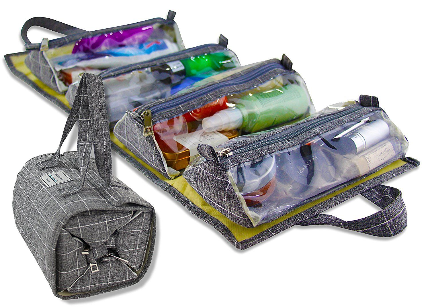 8b911514e65d Amazon.com  Hanging Roll-Up Make Up Organizer and Travel Bag - 4 Removable Toiletry  Bags - Great for Cosmetics