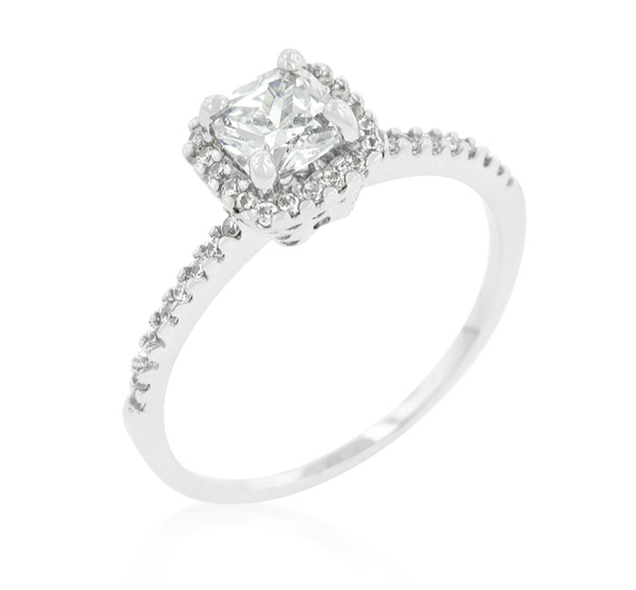 Ada Delicate Princess Cut Halo Engagement Ring 1 25 ct
