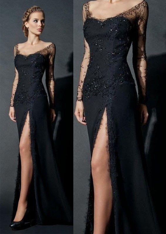 Black Elegnt Sheath Evening Dress, Long Sleeve Evening Dress, Elegant Evening Dress,Sexy Evening Dress, Sexy Lace Prom Dresses