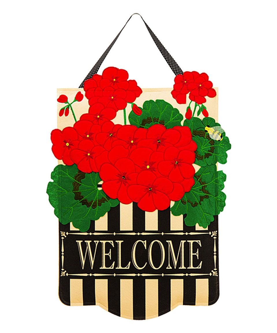 Take a look at this Red Geranium Felt Door Hanger today!