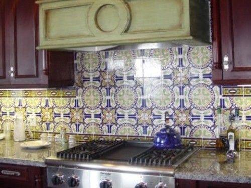 Spanish Tile Backsplash With Granite Countertops Mediterranean Kitchen Design Spanish Tile Backsplash Custom Kitchens