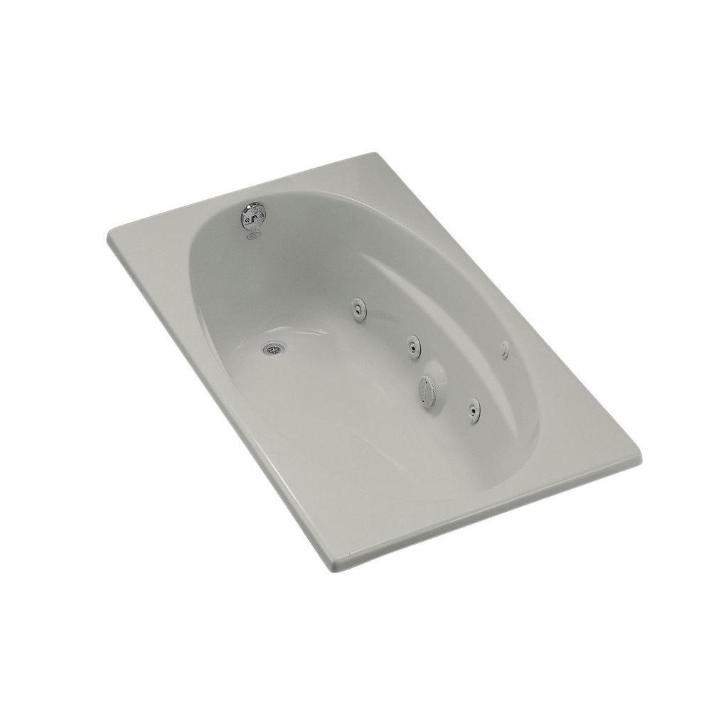 KOHLER ProFlex 5 ft. Acrylic Oval Drop-in Whirlpool Bathtub in Ice ...