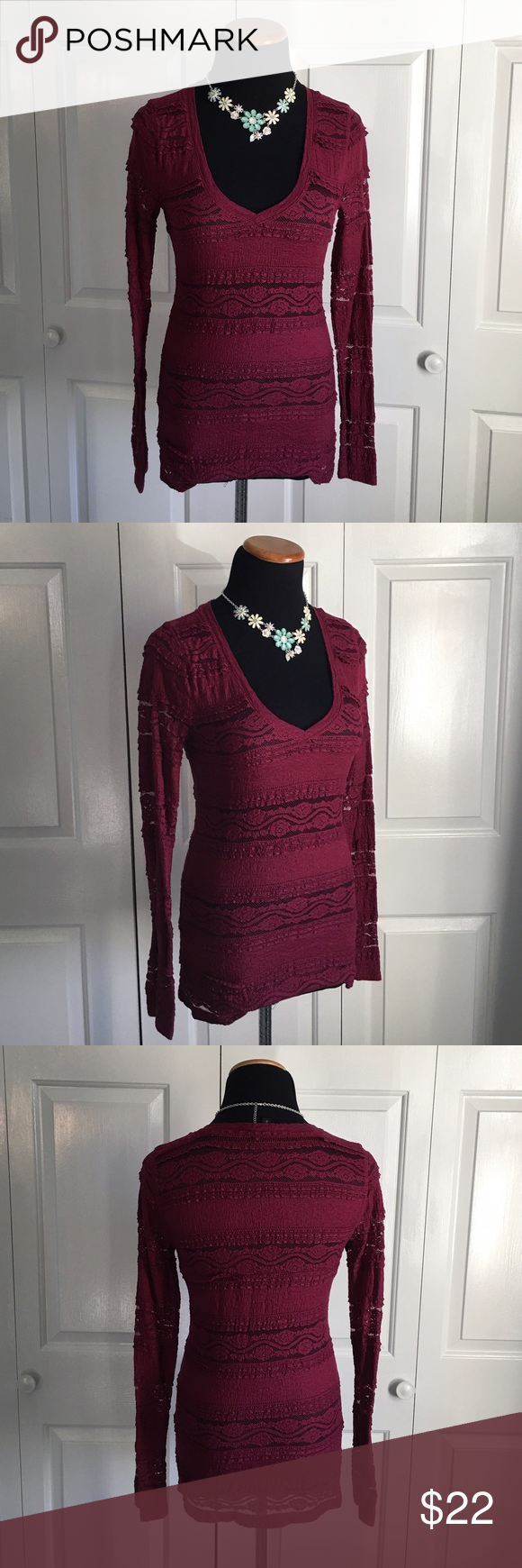 Berry Lace Top Berry colored lace long sleeve top. Worn once, excellent condition. Express Tops Blouses