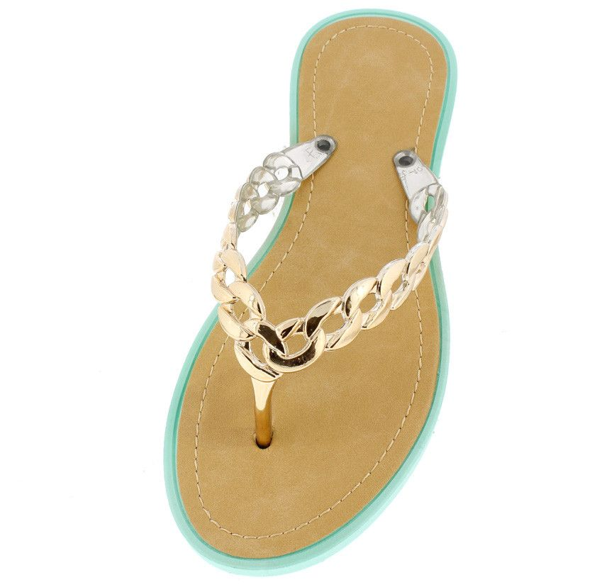 ANNA TEAL GOLD CHAIN THONG SANDAL ONLY $10.88