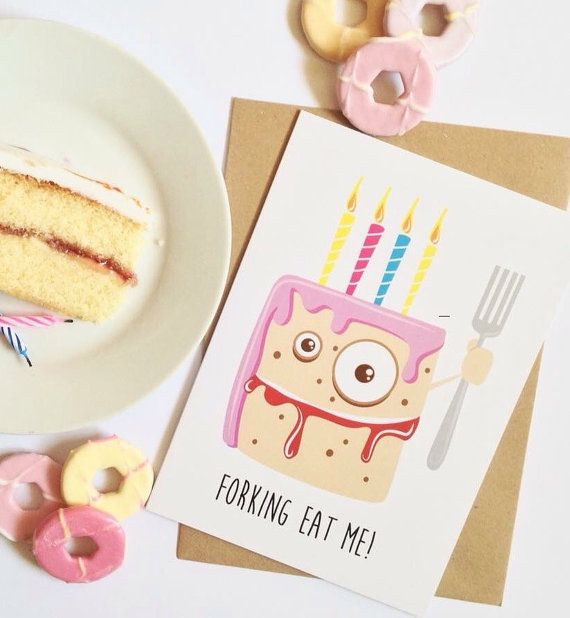 Funny birthday card Rude pink birthday cake celebration card for