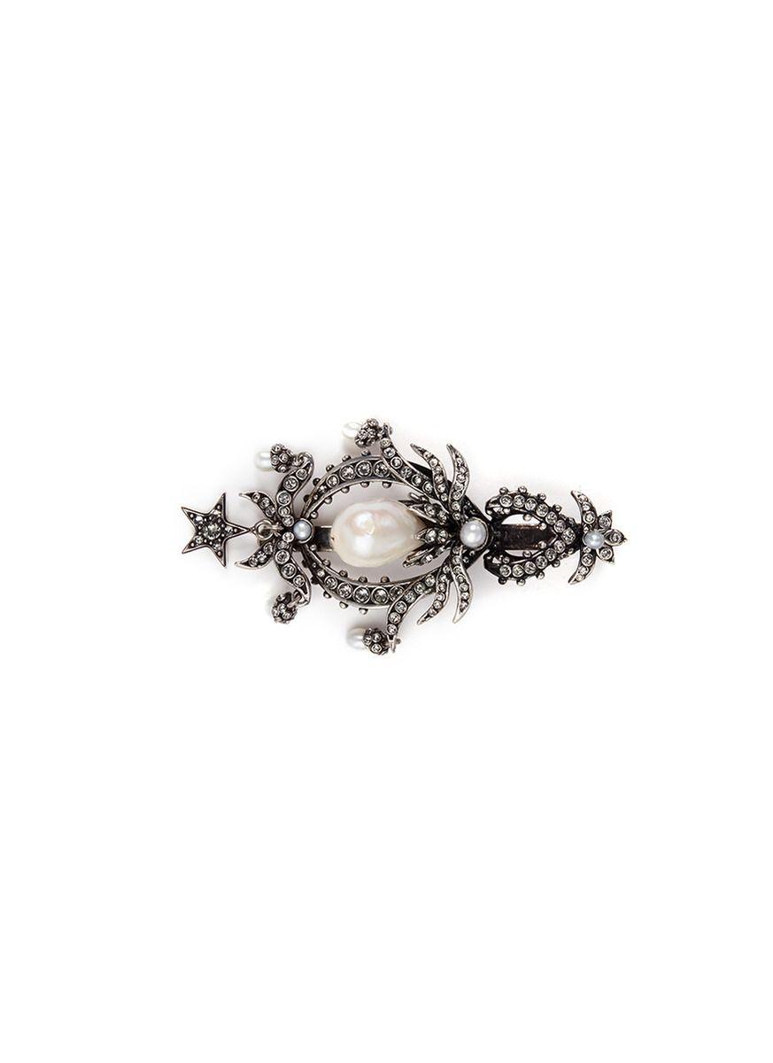 ALEXANDER MCQUEEN Swarovski Crystal Pearl Drop Hair Clip. #alexandermcqueen #clip