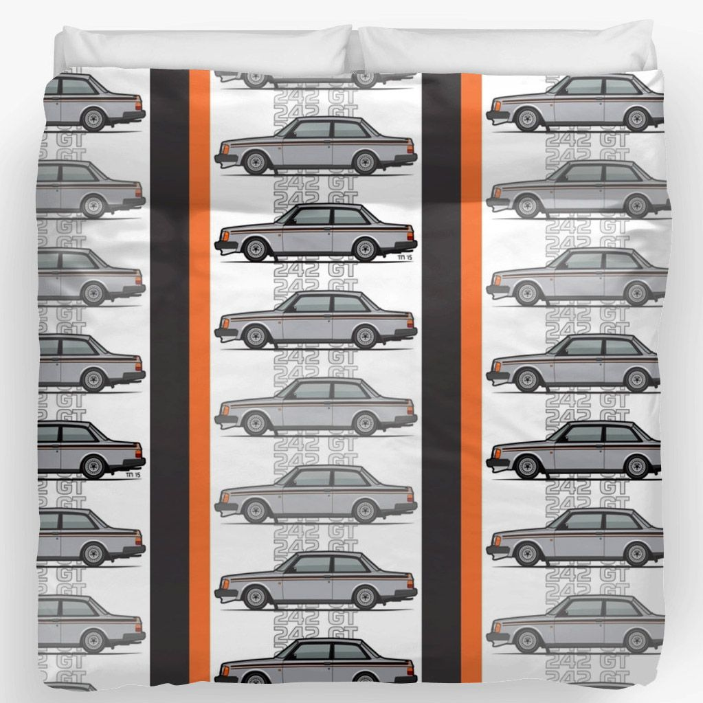 Volvo  Series Coupe Duvet Covers Brushed Polyester Printed Topside Soft Cotton Polyester Off White Underside Concealed Zipper And Ties For