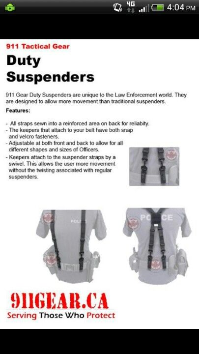 Awesome Suspenders Police Gear Tac Tactical Weapons Gears