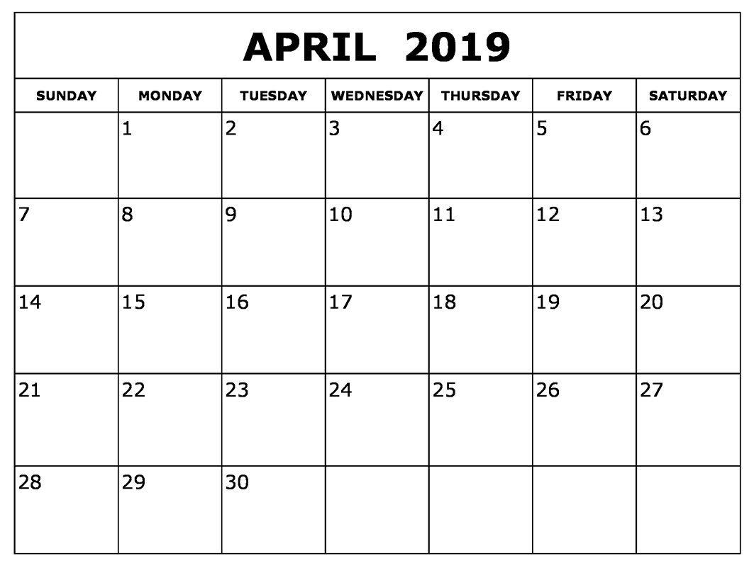 Printable April 2019 Calendar Excel Calendar Printables