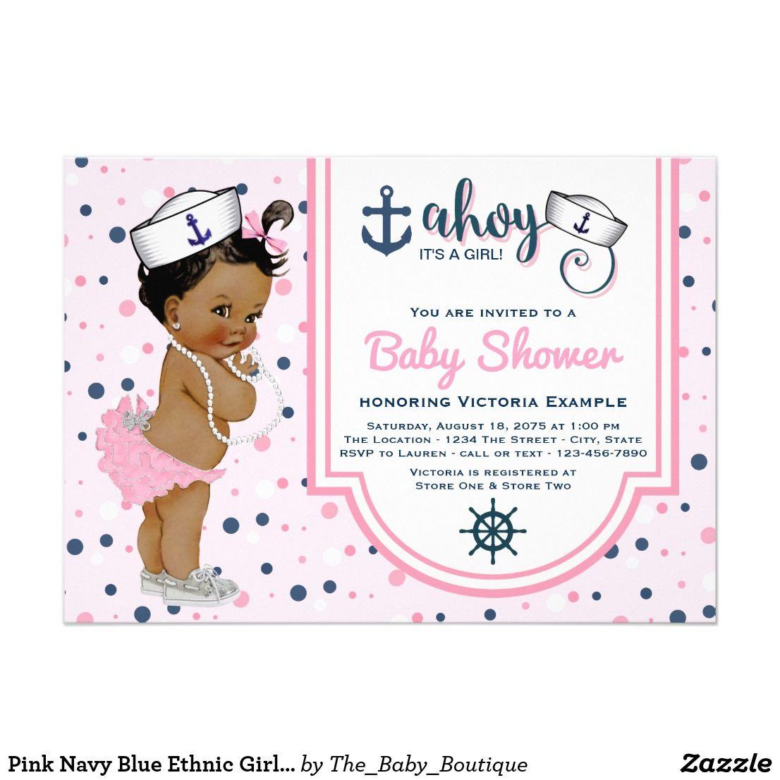 Pink Navy Blue Ethnic Girl Nautical Baby Shower Invitation | { Oh ...