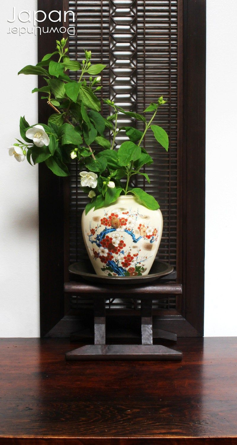 Japanese itomaki, wood bobbin, wooden plant stand, mingei, japanese antiques, japanese interior