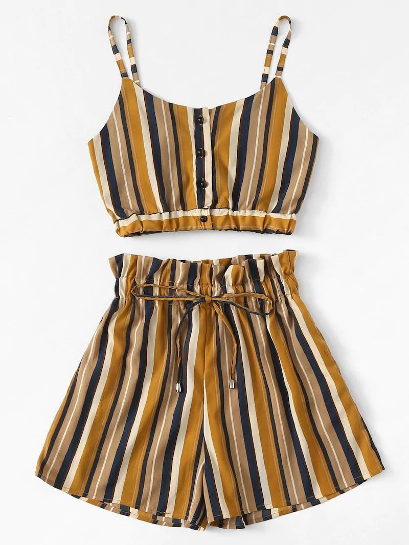 Plus Button Striped Cami Top With Shorts #stripedcamitops Plus Button Striped Cami Top With Shorts #clothes #plussize #fashion #trend #moda #women #dress #stripedcamitops