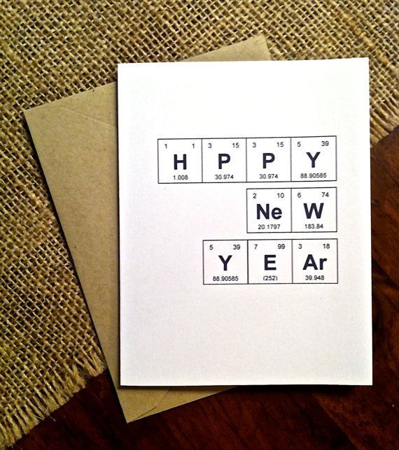 Happy New Year 2019 Happy New Year Card Periodic Table Of