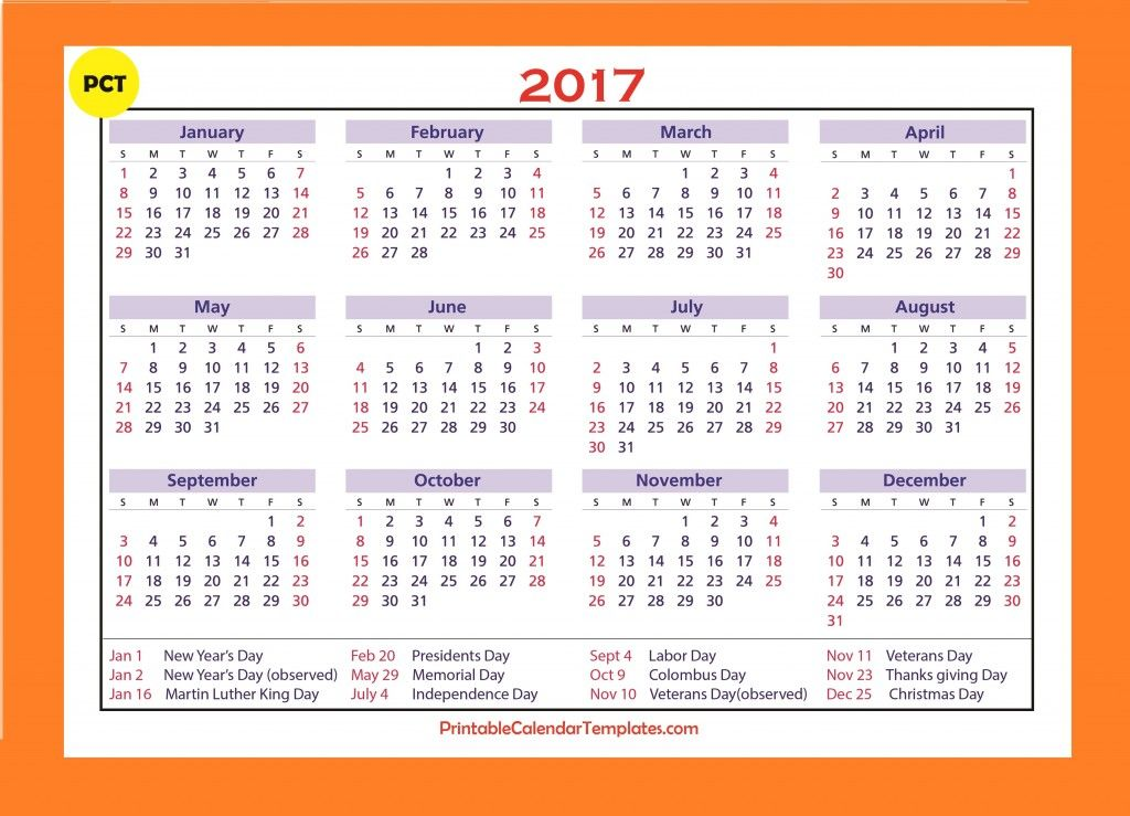 2017 Calendar Templates, 2017 Calendar Printable, bank holiday ...
