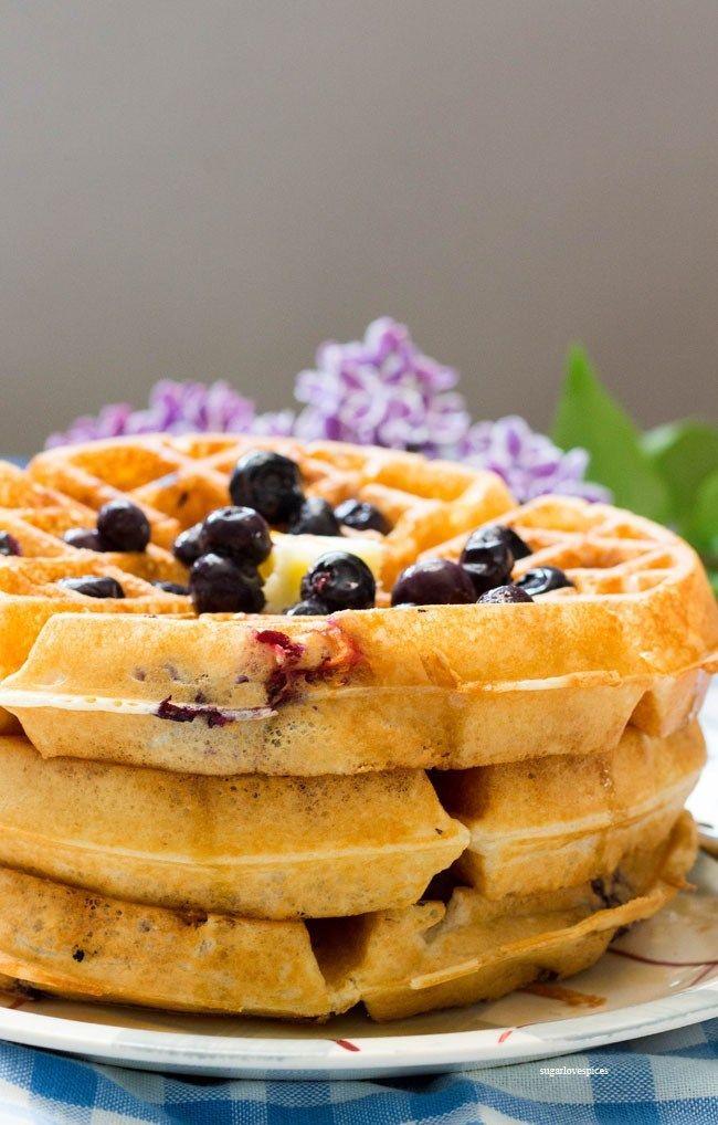 Lemon Blueberry Buttermilk Waffles Sugarlovespices Lemon Waffle Recipe Blueberry Waffles Recipe Waffle Recipes