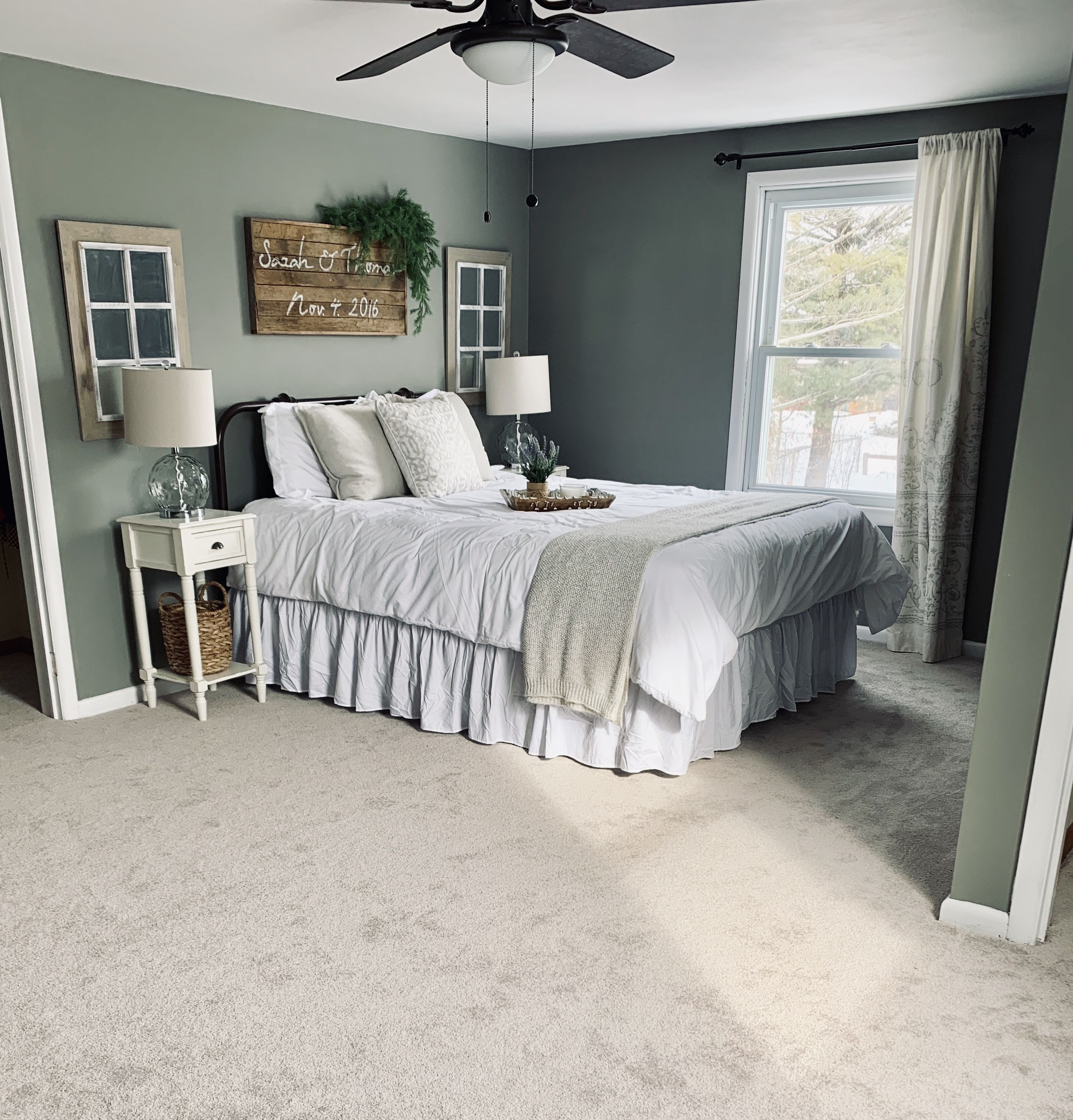 Dark Green Grey Walls With White Trim Bedspread And Wood Accents
