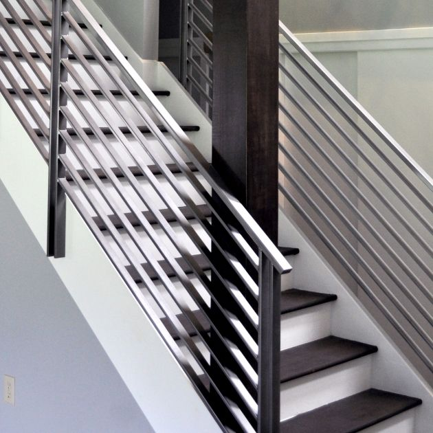 Black And Stainless Steel Railings Modern Metal Stair
