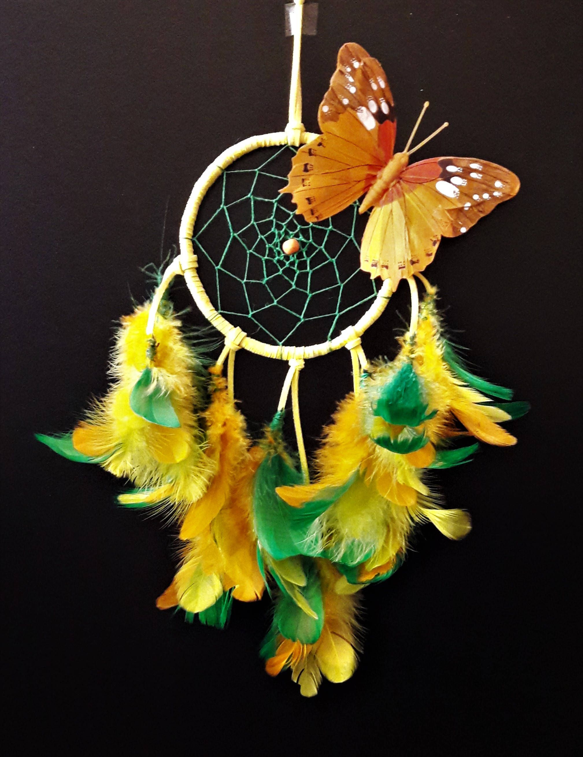 Dream catcher with Orange Butterfly, Home decor, Home design, Wall ...
