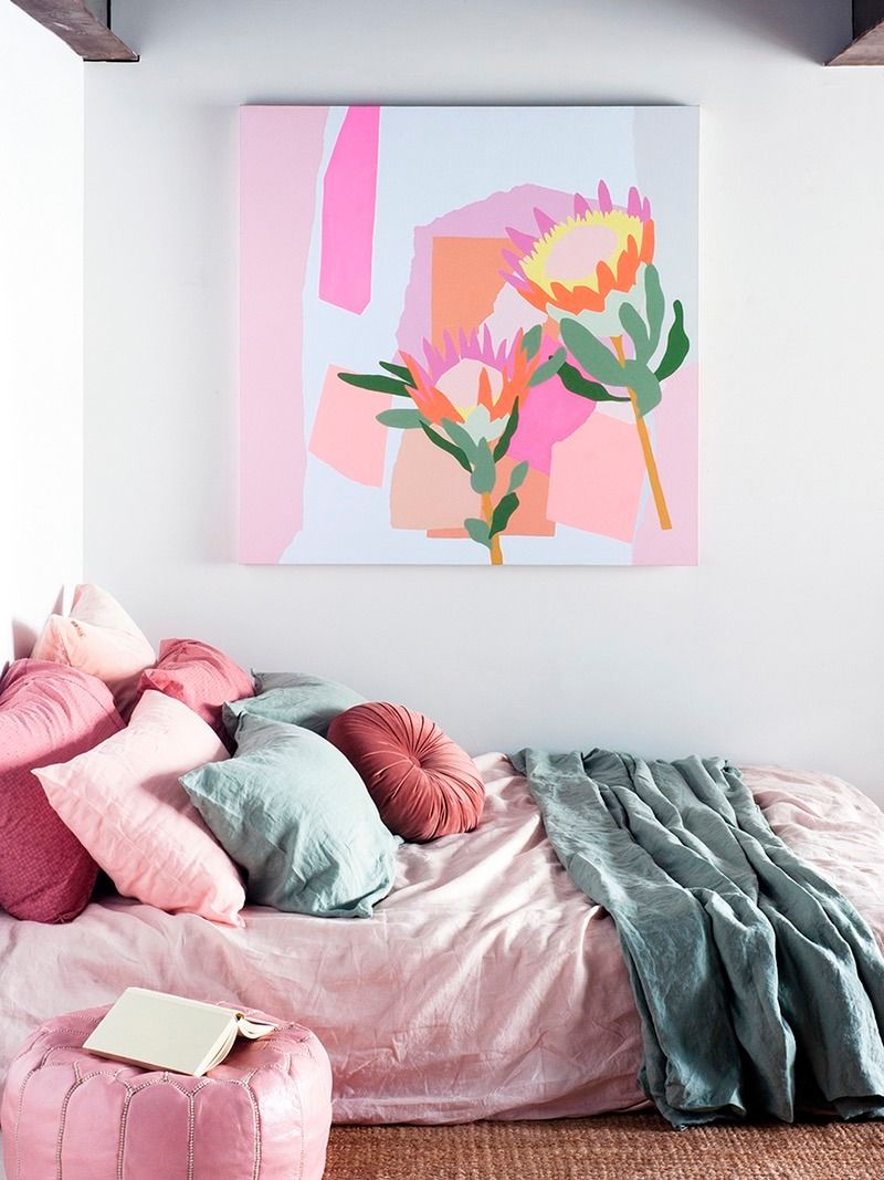 Complement Colorful Artwork With Accent Pieces Or Bedding For Some Relaxing Vibes
