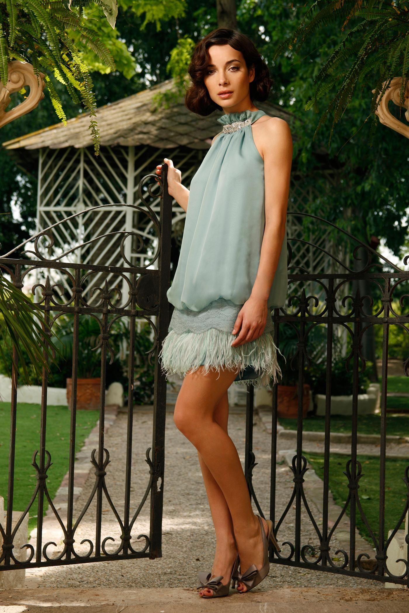 vestido en gasa años 20 verde agua. Puedes comprarlo en www.keralafiesta.com