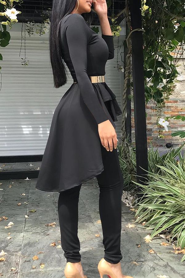 Casual Irregular Hems Black Two-piece Pants Set(Without Belt)