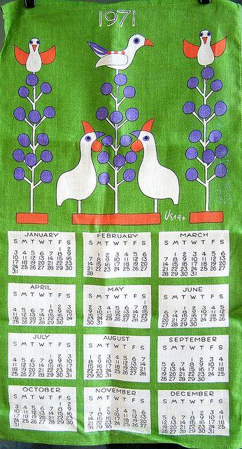 1971 Vera Folk Art Birds Tea Towel Calendar Vintage Calendar