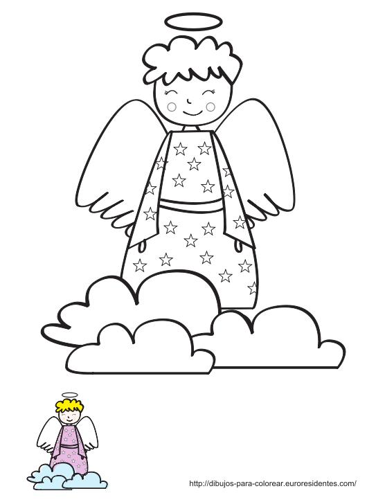 Dibujo de ángel para colorear   Pinterest   Ideas para