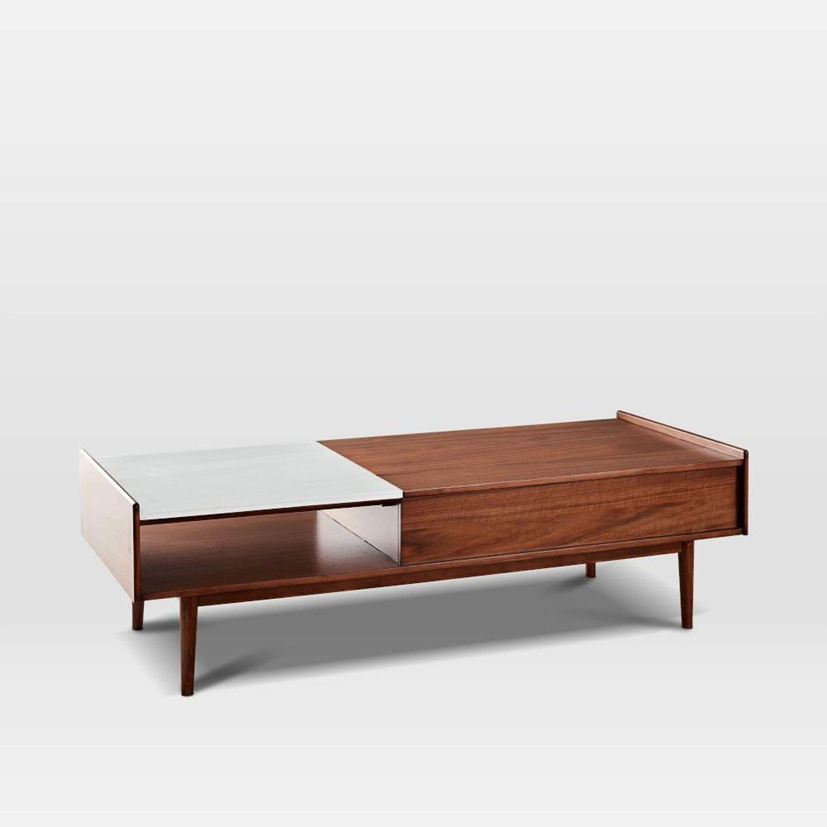 Midcentury popup storage coffee table walnut large furniture