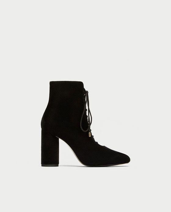 Aksamitne Botki Zara High Heel Boots Ankle Velvet High Heels Heels