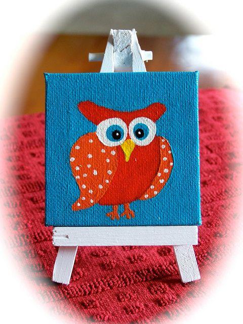 Cute Tiny Owl Canvas Painting