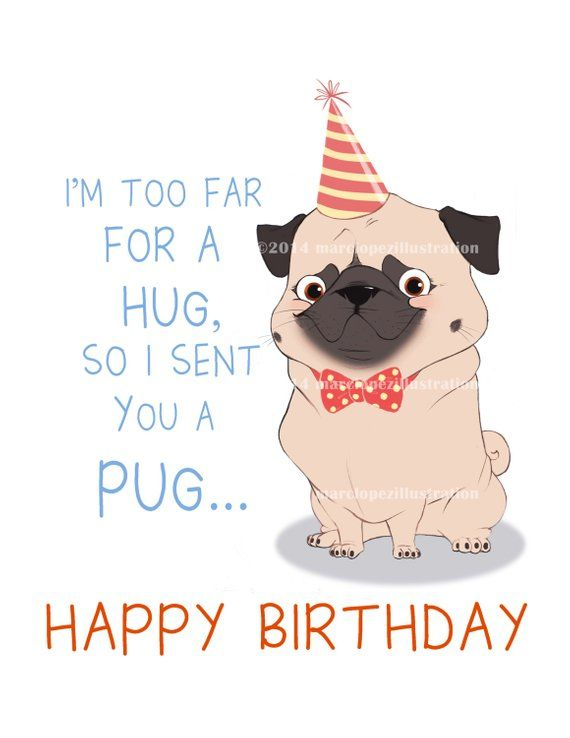 Party Pug Birthday Card Approximately 5 X 7 Blank With Kraft Envelope Animal And Dog Illustr