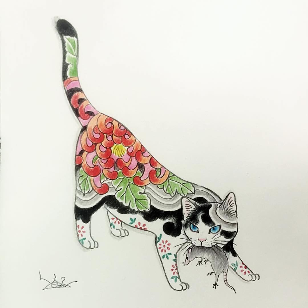 Thursday Monmoncat Monmoncats Cat Cats Cattattoo Catart Tattooedcat Tattooedcats Teboricats Neko Horitomo Tattoos Put Cat Tattoo Drawings Cat Art
