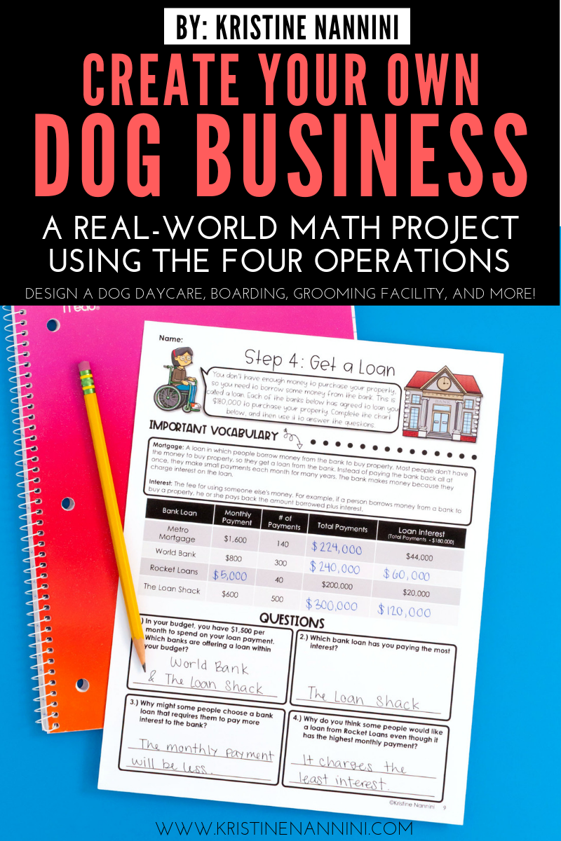 Create Your Own Dog Business Math Project Math projects