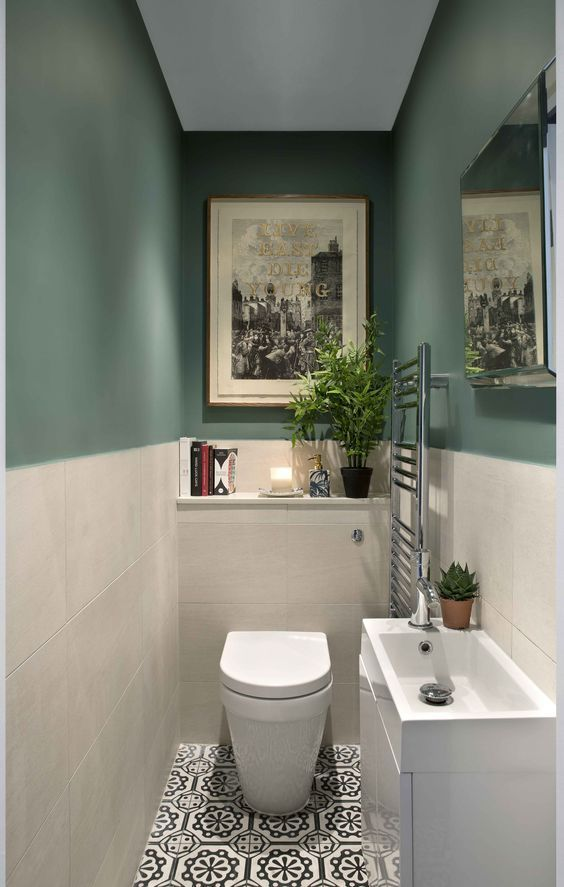 Green And Patterned Tile Bathroom By Kingstonlaffertydesign Com