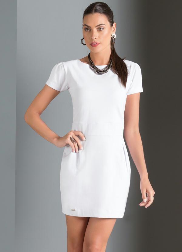 ba2f0fb99e19 Vestido Curto com Detalhe de Pregas (Branco) | MULHER CLASSE A ...