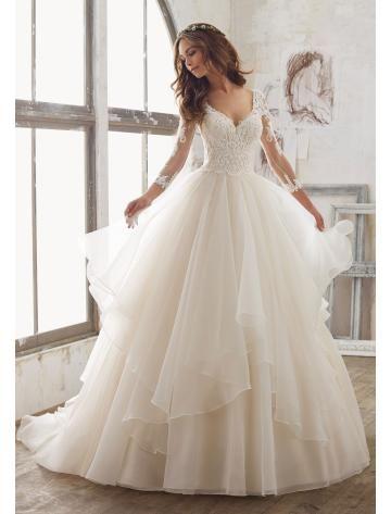 A-linie Wunderschöne Romantische Brautkleider aus Organza mit ...