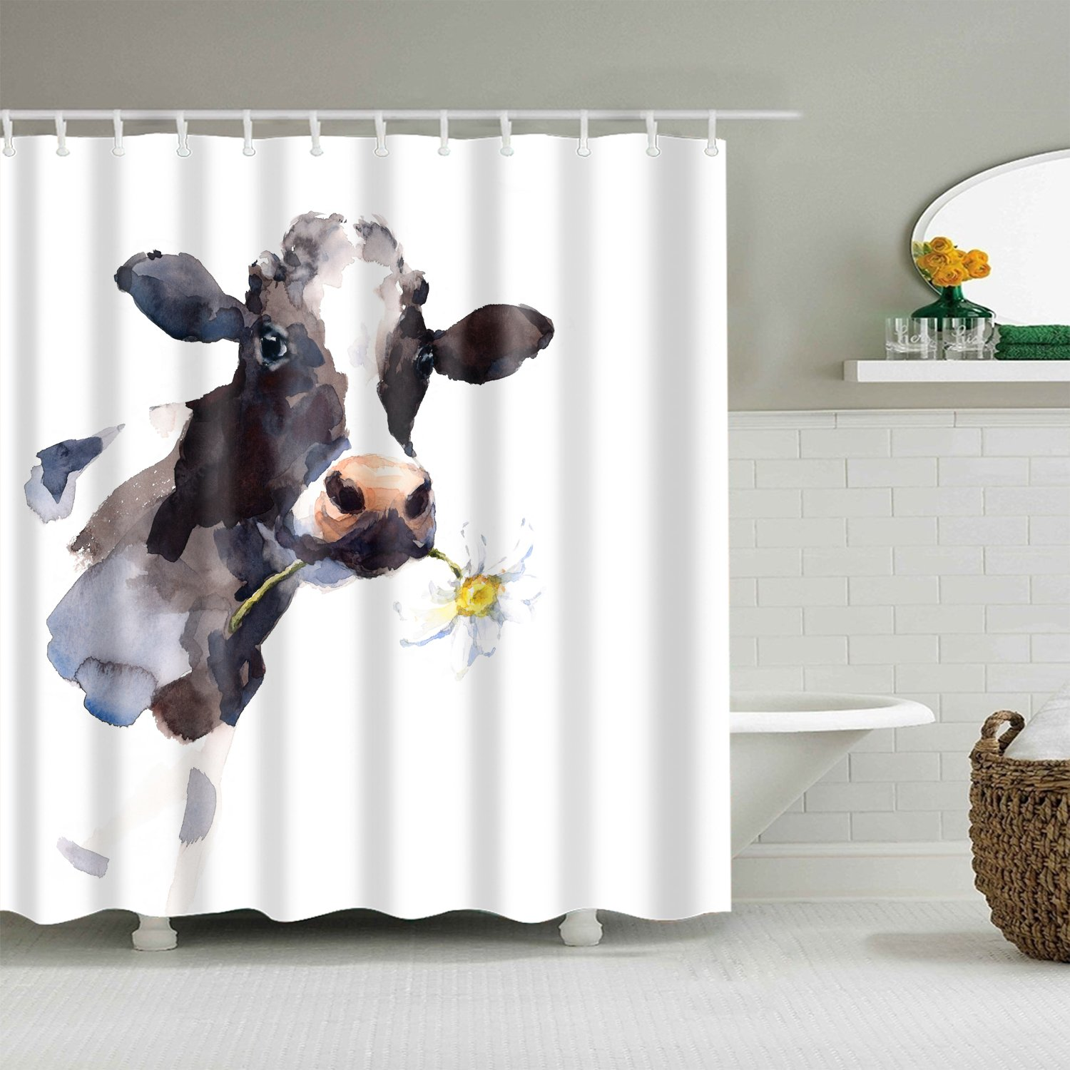 Watercolor Farm Animals Cattle Daisy Cow Head Shower Curtain