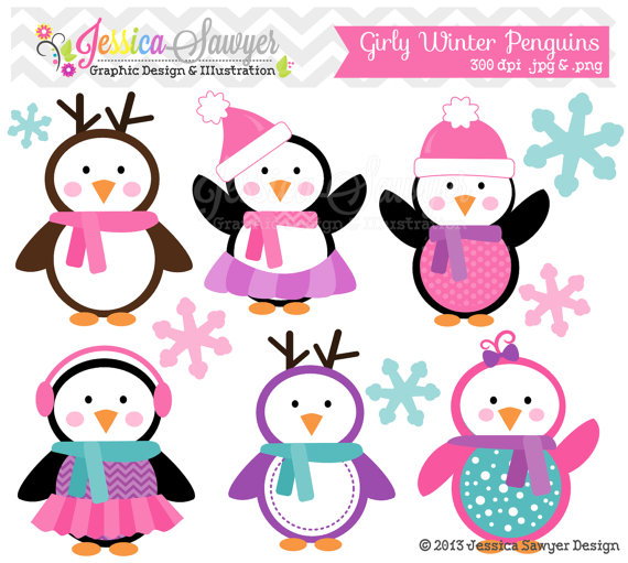 INSTANT DOWNLOAD, girly winter penguin clipart, holiday penguins ...