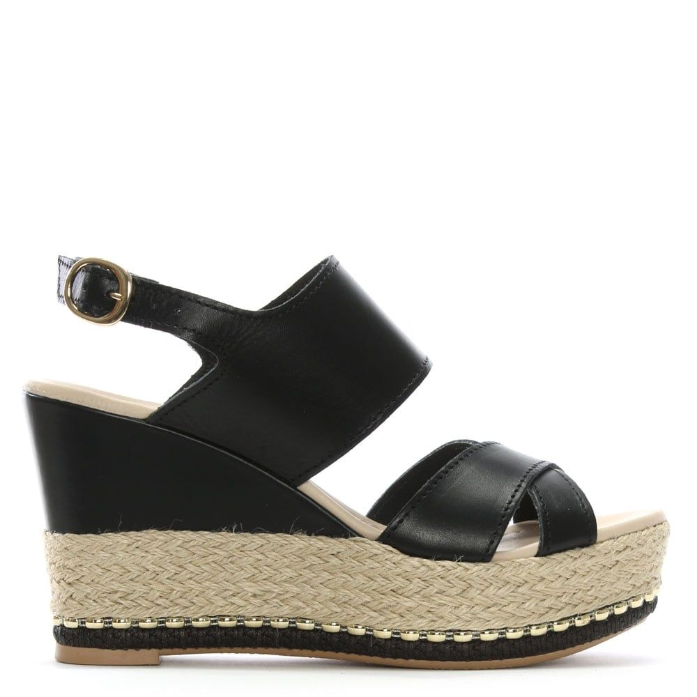 4516097d1d8 Baros Black Leather Strappy Wedge Espadrilles | DANIEL | Sandals ...